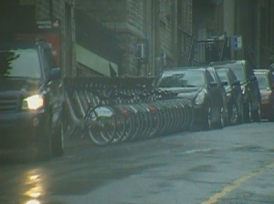 Bixi bike stand taking up needed parking space at Royal Victoria Hospital Emergency entrance.