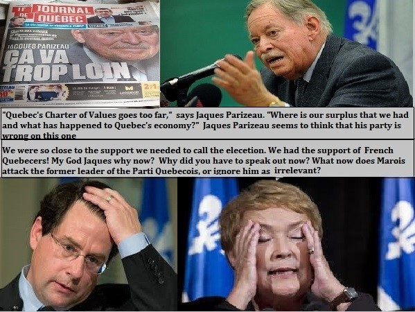 Does Pauline Marois attack the former leader of the Partis Quebecois, or does she ignore him as irrelevant?